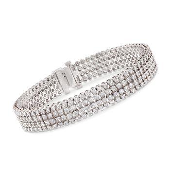 "7.00 ct. t.w. Multi-Row Diamond Bracelet in 14kt White Gold. 7"", , default"
