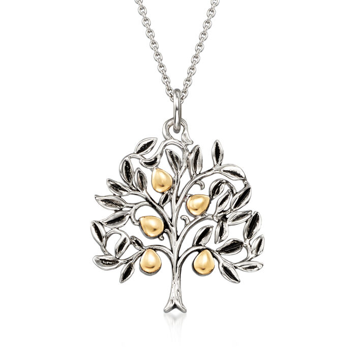Sterling Silver and 14kt Yellow Gold Tree with Leaves Pendant Necklace, , default