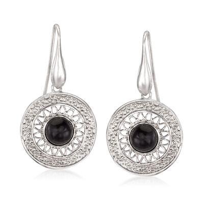 Italian Black Onyx Circle Drop Earrings in Sterling Silver
