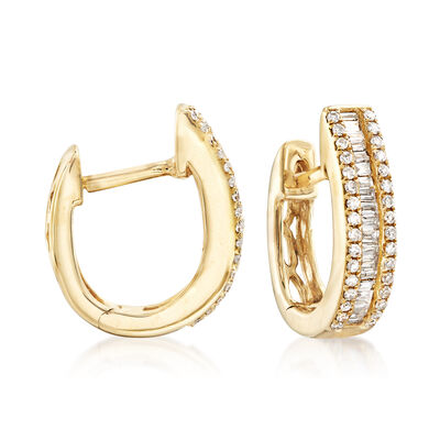 1.14 ct. t.w. Diamond Huggie Hoop Earrings in 14kt Yellow Gold , , default