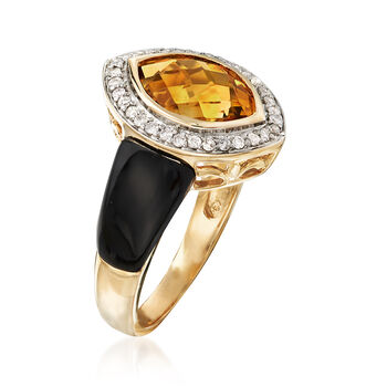 Black Onyx and 3.10 Carat Citrine Ring with .19 ct. t.w. Diamonds in 14kt Yellow Gold. Size 8, , default