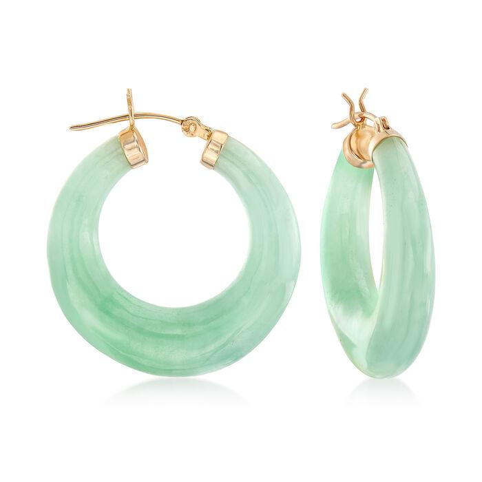 "Green Jade Hoop Earrings in 14kt Yellow Gold. 1 1/8"", , default"