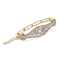 "C. 1960 Vintage 1.30 ct. t.w. Diamond Bangle Bracelet in 14kt Yellow Gold. 7"", , default"