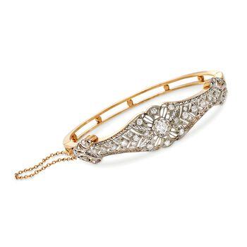 "C. 1960 Vintage 1.30 ct. t.w. Diamond Bangle Bracelet in 14kt Yellow Gold. 7"", , default"