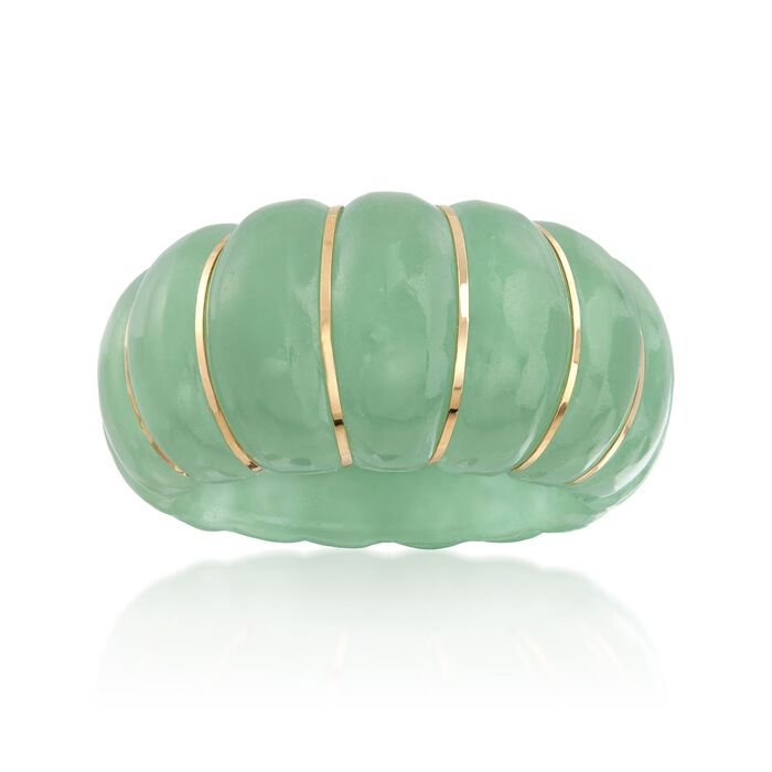 Carved Green Jade Shrimp Ring with 14kt Yellow Gold, , default