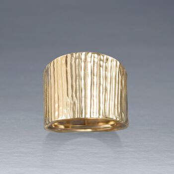 Italian 14kt Yellow Gold Wide Ridged Ring, , default