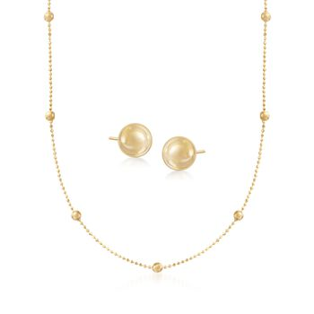 14kt Yellow Gold Bead Station Necklace With Free 4mm Ball Stud Earrings, , default