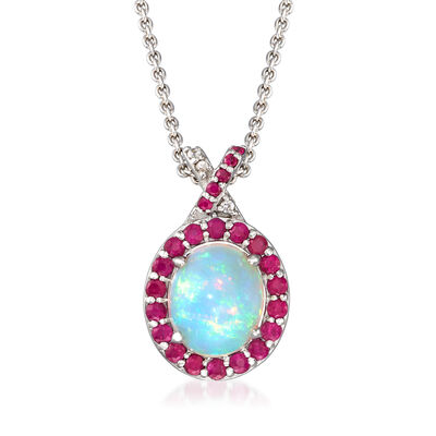 Ethiopian Opal and .99 ct. t.w. Ruby Pendant Necklace with White Zircon Accents in Sterling Silver, , default