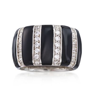 "Belle Etoile ""Regal"" Black Onyx and .70 ct. t.w. CZ Ring in Sterling Silver, , default"