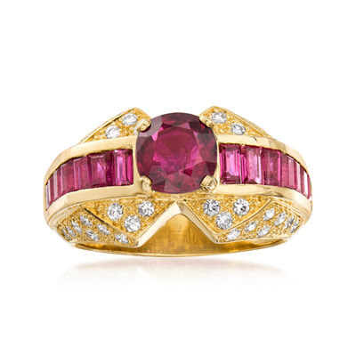 C. 1980 Vintage 3.50 ct. t.w. Ruby and .60 ct. t.w. Diamond Ring in 18kt Yellow Gold