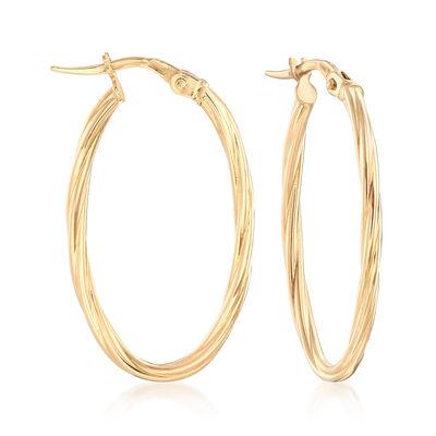 Italian 18kt Yellow Gold Large Oval Hoop Earrings, , default