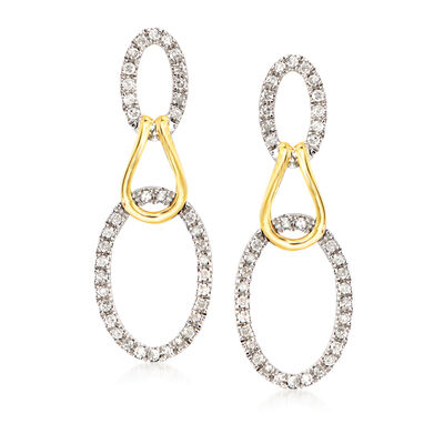 .50 ct. t.w. Diamond Oval Loop Drop Earrings in Sterling Silver and 14kt Yellow Gold