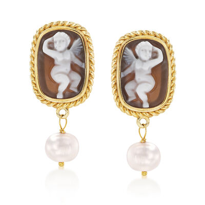 Italian 8mm Cultured Pearl Shell Cameo Earrings in 18kt Gold Over Sterling , , default