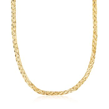 Italian 18kt Yellow Gold Over Sterling Silver Braided Herringbone Necklace, , default