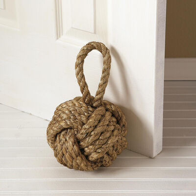 """Marseille"" Brown Jute Knot Door Stopper, , default"