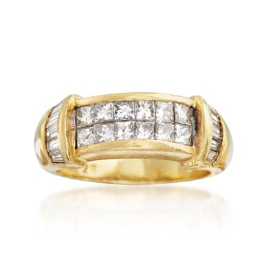 C. 1990 Vintage 1.50 ct. t.w. Princess-Cut and Baguette Diamond Ring in 18kt Yellow Gold, , default