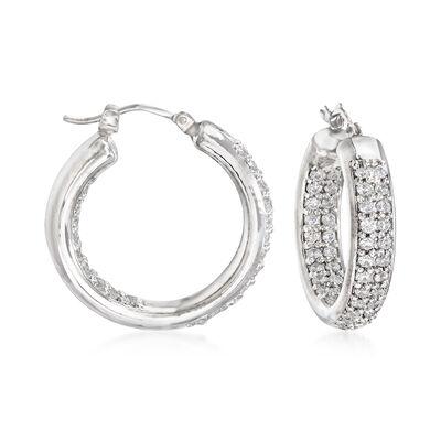 Italian 1.70 ct. t.w. CZ Inside-Outside Hoop Earrings in 14kt White Gold, , default