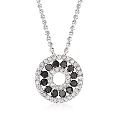 C. 1990 Vintage Giantti .60 ct. t.w. Black and White Diamond Circle Necklace in 18kt White Gold, , default