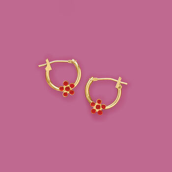 "Child's 14kt Yellow Gold Flower Huggie Hoop Earrings with Enamel. 3/8"", , default"