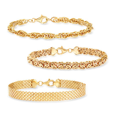 18kt Gold Over Sterling Jewelry Set: Three Link Bracelets