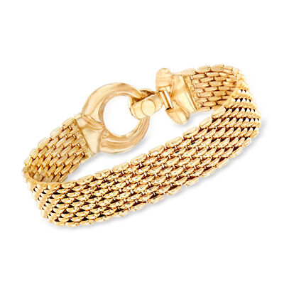 Italian 14kt Yellow Gold Wide-Link Bracelet, , default
