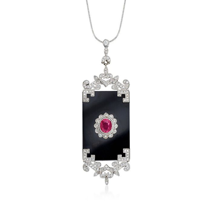 Black Onyx Pendant with Ruby and Diamonds in 18kt White Gold, , default
