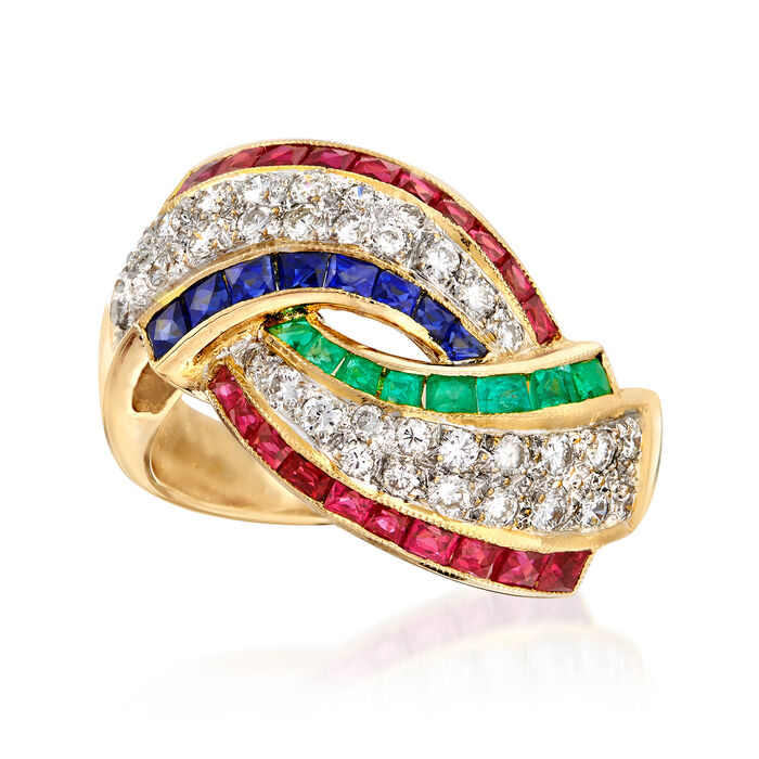 C. 2000 Vintage 2.10 ct. t.w. Multi-Gemstone and .51 ct. t.w. Diamond Ring in 18kt Yellow Gold. Size 5.5, , default