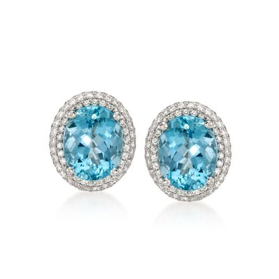 4.87 ct. t.w. Aquamarine and .62 ct. t.w. Diamond Earrings in 18kt White Gold