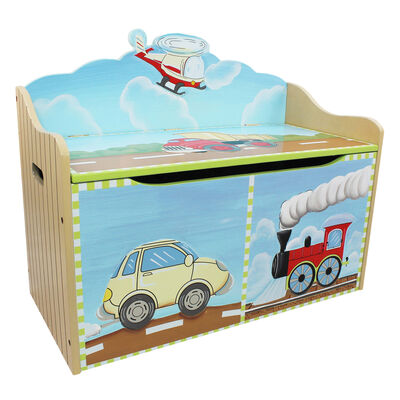 Child's Transportation Wooden Toy Chest, , default