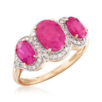 2.48 ct. t.w. Triple-Ruby and .28 ct. t.w. Diamond Ring in 14kt Yellow Gold, , default