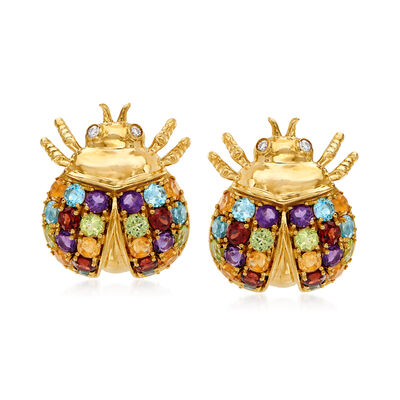 5.50 ct. t.w. Multi-Gemstone Beetle Earrings with Diamond Accents in 14kt Yellow Gold