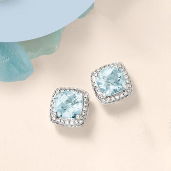 2.60 ct. t.w. Aquamarine and .20 ct. t.w. Diamond Earrings in 14kt White Gold