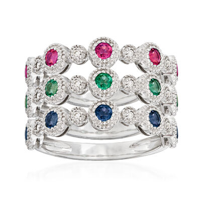 Diamond-Accented 1.10 ct. t.w. Multi-Gemstone Jewelry Set: Three Rings in 14kt White Gold, , default