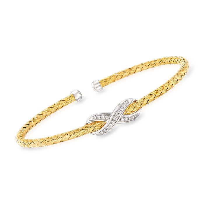 """Charles Garnier """"Paolo"""" .12 ct. t.w. CZ Infinity Cuff Bracelet. 7"""""""