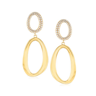 .66 ct. t.w. Pave CZ Double-Oval Drop Earrings in 18kt Gold Over Sterling, , default