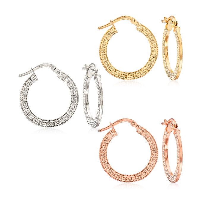 Italian Tri-Colored Sterling Silver Jewelry Set: Three Pairs of Greek Key Hoop Earrings