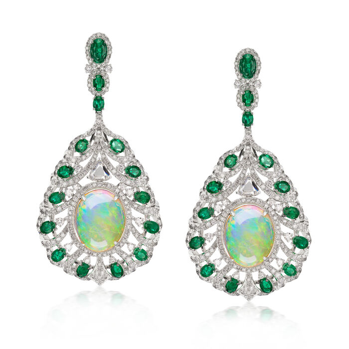 Opal, 5.16 ct. t.w. Diamond and 4.70 ct. t.w. Emerald Drop Earrings in 18kt White Gold
