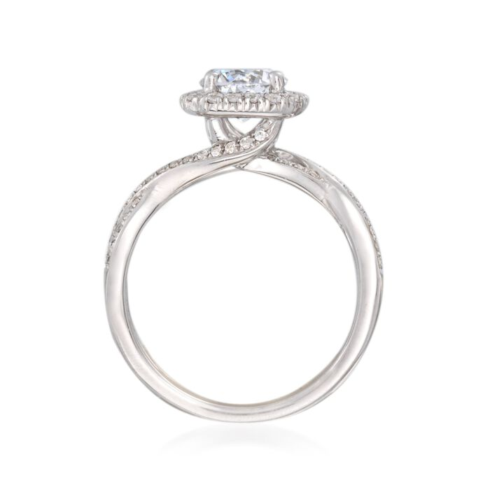 Simon G. .30 ct. t.w. Diamond Twisted Halo Engagement Ring Setting in 18kt White Gold