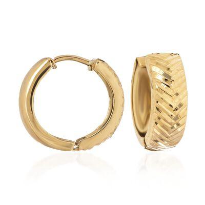 14kt Yellow Gold Diamond-Cut Chevron Huggie Hoop Earrings, , default