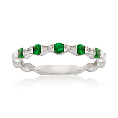 .10 ct. t.w. Emerald Stackable Ring with Diamond Accents in 14kt White Gold, , default