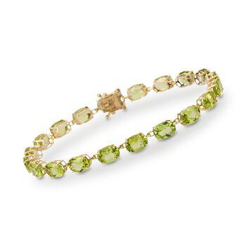 19.00 ct. t.w. Peridot Bracelet in 14kt Yellow Gold, , default