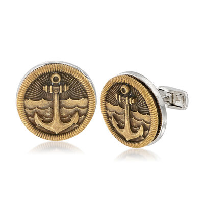 Men's Sea Anchor Coin Cuff Links in Sterling Silver, , default