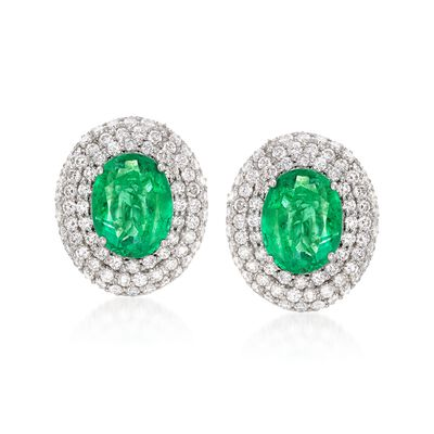 6.00 ct. t.w. Emerald and 3.85 ct. t.w. Diamond Earrings in 18kt White Gold, , default