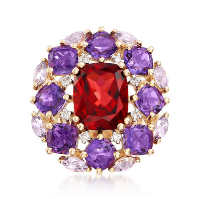 4.10 Carat Garnet and 3.80 ct. t.w. Amethyst Ring in 14kt Yellow Gold, , default