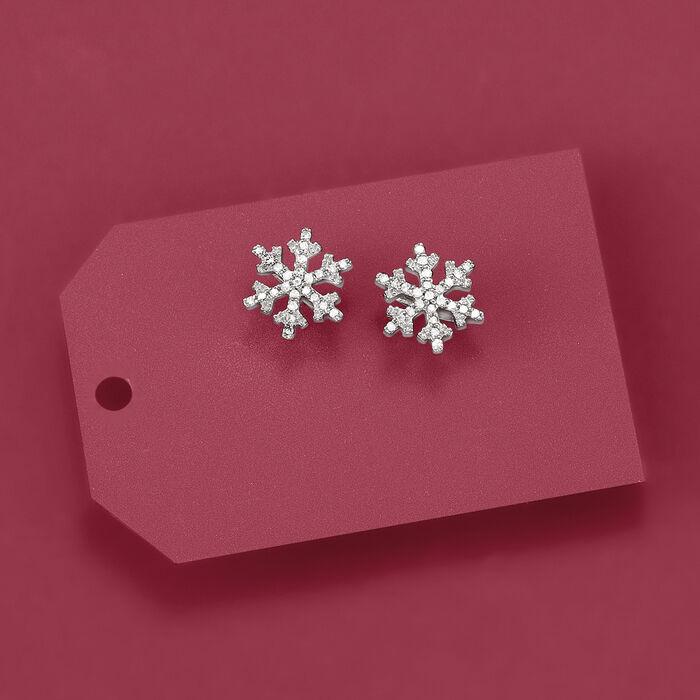 .15 ct. t.w. Diamond Snowflake Stud Earrings in 14kt White Gold