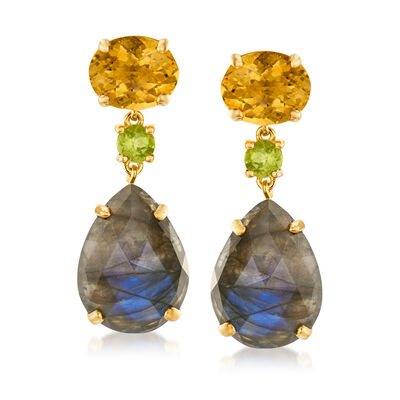 9.40 ct. t.w. Multi-Gemstone Drop Earrings in 18kt Gold Over Sterling