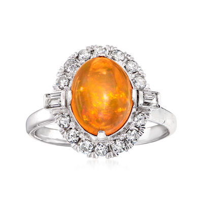 C. 1960 Vintage Fire Opal and .45 ct. t.w. Diamond Ring in Platinum