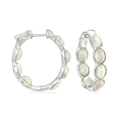 Ethiopian Opal Inside-Outside Hoop Earrings in Sterling Silver, , default