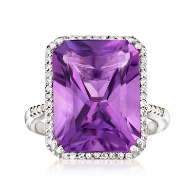 10.75 Carat Amethyst and .20 ct. t.w. Diamond Ring in 14kt White Gold