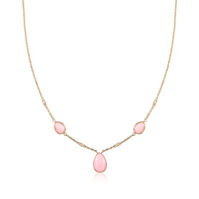 Pink Opal Necklace with Diamond Accents in 14kt Yellow Gold, , default